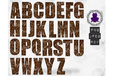 Alphabet Clip art bundle Leopard print