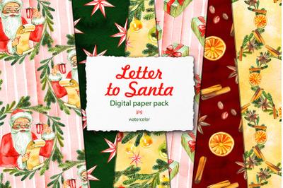 Letter to Santa. Digital paper pack
