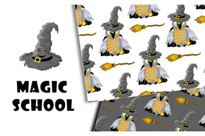 Magic school. A set of patterns. Hogwarts and Harry Potter.
