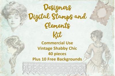 Vintage Digital Stamps, Overlays and Ephemera