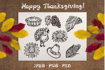 8 hand drawn Thanksgiving elements