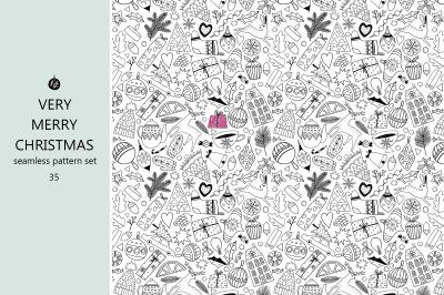 Christmas monochrome seamless patterns