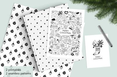 Christmas monochrome printables & seamless patterns