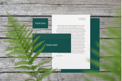 Stationery branding mockup with fern