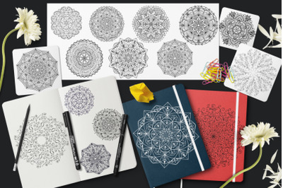 15 vector mandalas, cards and letterhead with ornament of mandalas.