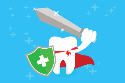 Healthy Tooth With Sword and Shield