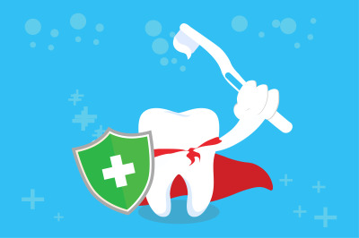 Healthy Tooth With paste and Shield