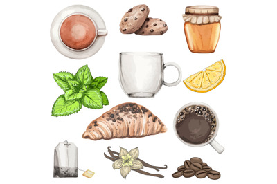 set with tea, coffee, cookies and croissant vector illustration