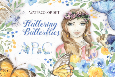 Watercolor Fluttering Butterflies