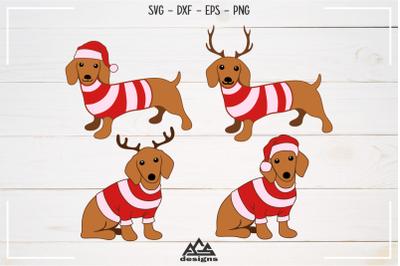 Dog Dachshund Winter Packs Svg Design