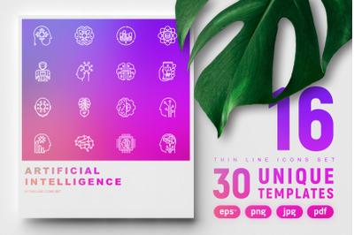 Artificial Intelligence Thin Line Icons Set | Concept