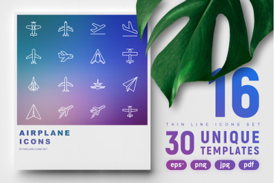 Airplane Thin Line Icons Set | Concept