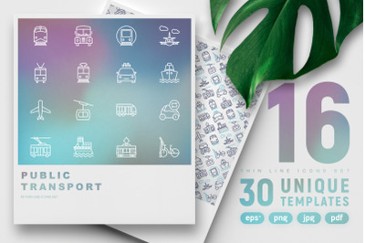 Public Transport Thin Line Icons Set | Concept