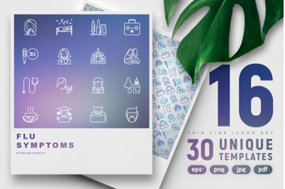 Flu & Symptoms Thin Line Icons Set | Concept