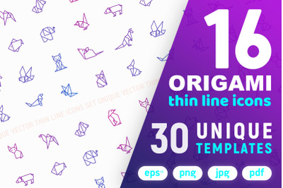Origami Thin Line Icons Set | Concept