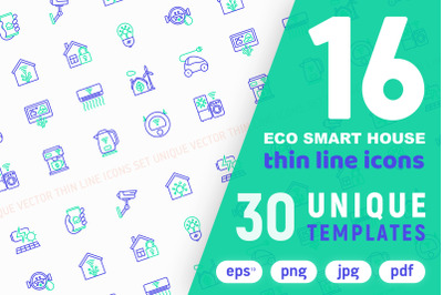 Eco Smart House Thin Line Icons Set | 30 Unique Templates
