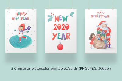 Christmas watercolor funny printables