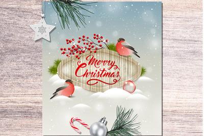 Christmas Card with Bullfinch Bird