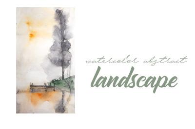 watercolor landscape, lonely tree