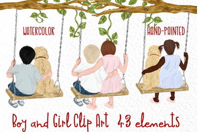 Watercolor kids on swing, Boy and girl with dog clipart