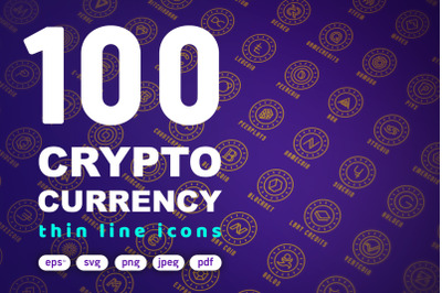 100 Crypto Currency Thin Line Icons