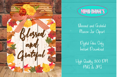 Autumn Leaves Blessed Grateful Mason Jar Clipart