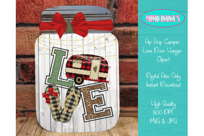Flip Flop Love Christmas Camper Mason Jar Clipart