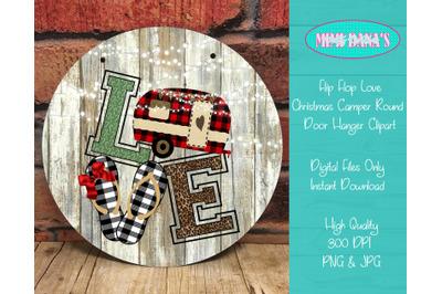 Flip Flop Love Christmas Camper Round Door Hanger Clipart