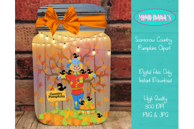 Scarecrow Country Pumpkins Mason Jar Door Hanger Clipart