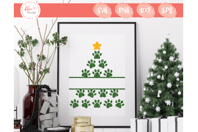Dog Paw Christmas SVG