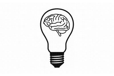 brain inside a light bulb svg, dxf, vector, eps, clipart, cricut
