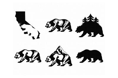 california, bear, black bear, grizzly bear, svg, dxf, vector, eps
