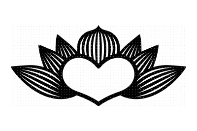 lotus heart flower svg, dxf, vector, eps, clipart, cricut, download