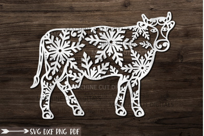Christmas Cow with snowflakes svg paper cut laser cut file template