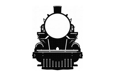 vintage steam train, old locomotive, svg, dxf, vector, eps, clipart