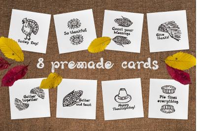 8 hand drawn Thanksgiving greeting cards