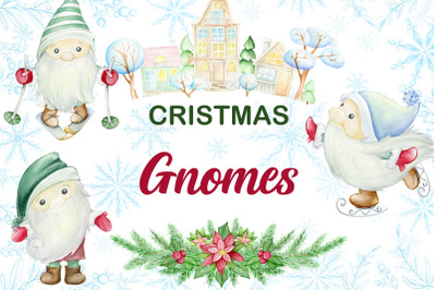 Christmas Gnomes Watercolor clipart, Nordic, Scandinavian, magical, wi
