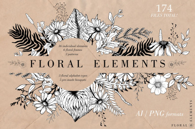 Hand-drawn Graphic Floral Collection