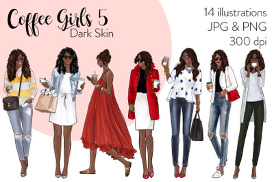 Watercolor Fashion Clipart - Coffee Girls 5 - Dark Skin