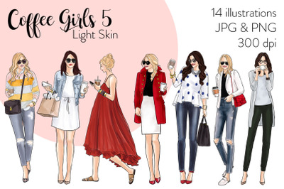 Watercolor Fashion Clipart - Coffee Girls 5 - Light Skin