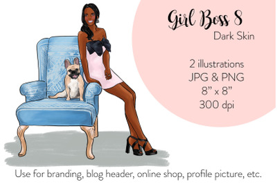 Watercolor Fashion Illustration - Girl boss 8 - Dark Skin