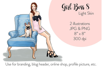 Watercolor Fashion Illustration - Girl boss 7 - Light Skin