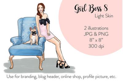 Watercolor FashionIllustration -Girl boss 8 - Light Skin