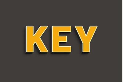 Key - 3D Text Style Effect PSD