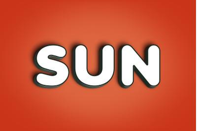 Sun - 3D Text Style Effect PSD