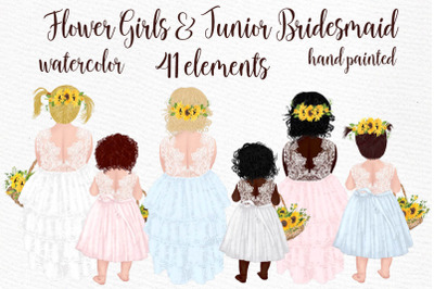 Flower girl clipart Wedding clipart Cute little girls