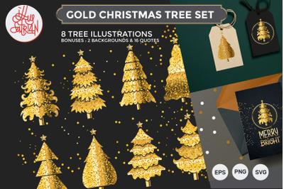 Gold Christmas Tree Set