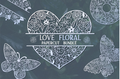 Love Floral Papercut Bundle- 14 SVG cut files