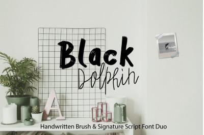 Black Dolphin / Multilingual Sans & Signature Font Duo