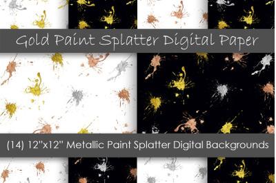Paint Splatter Digital Papers - Metallic Paint Backgrounds
